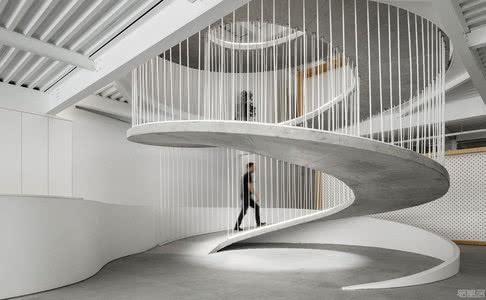 国外办公室间设计案例:混凝土螺旋走道,创建富有创造力的办公空间