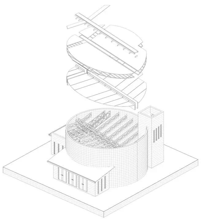仓库这些圆柱形的结构让人们联想到保护和安全的感觉.